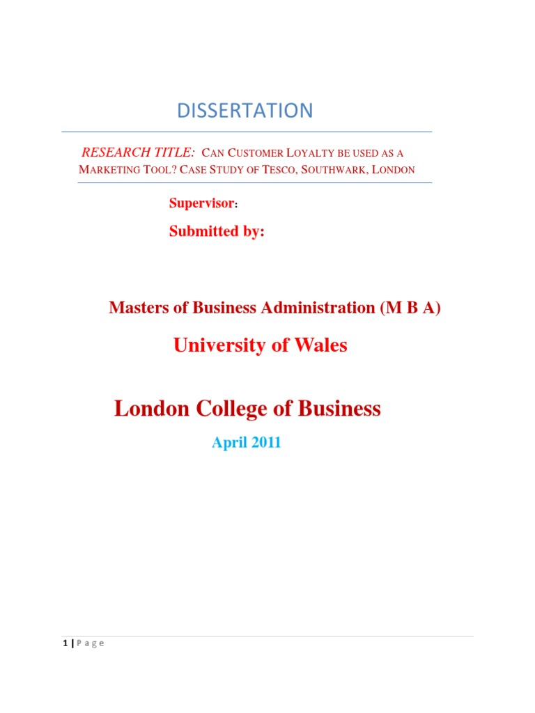 Dissertation of tesco