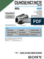 Sony Hdr-hc5, Hc5e, Hc7, Hc7e Service Manual Level 2 Ver 1.1 2007.03 (9-852-176-32)