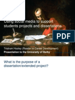 Using social media to support student projects and dissertations