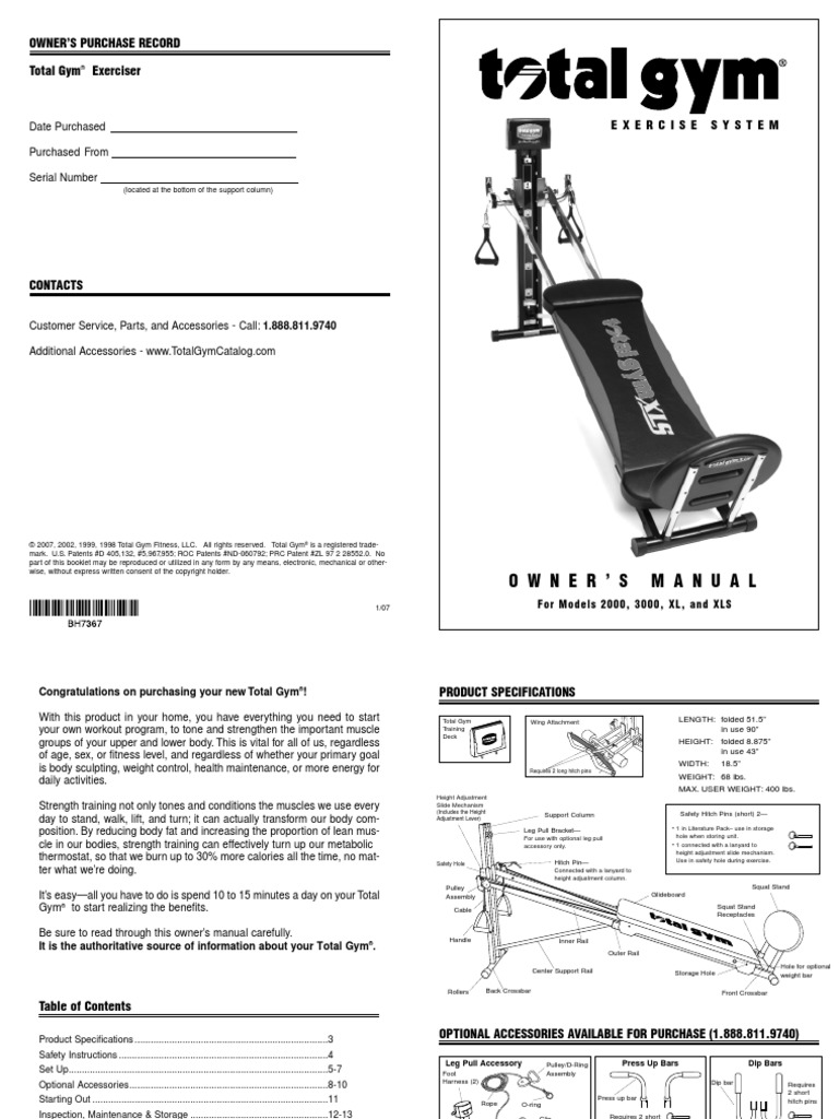 total gym xls owners guide_spec strength training physical fitness total gym 1100 assembly at Total Gym Parts Diagram
