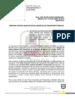 PREPARA SETRAVI BASE DE DATOS ABIERTOS DE TRANSPORTE PÚBLICO