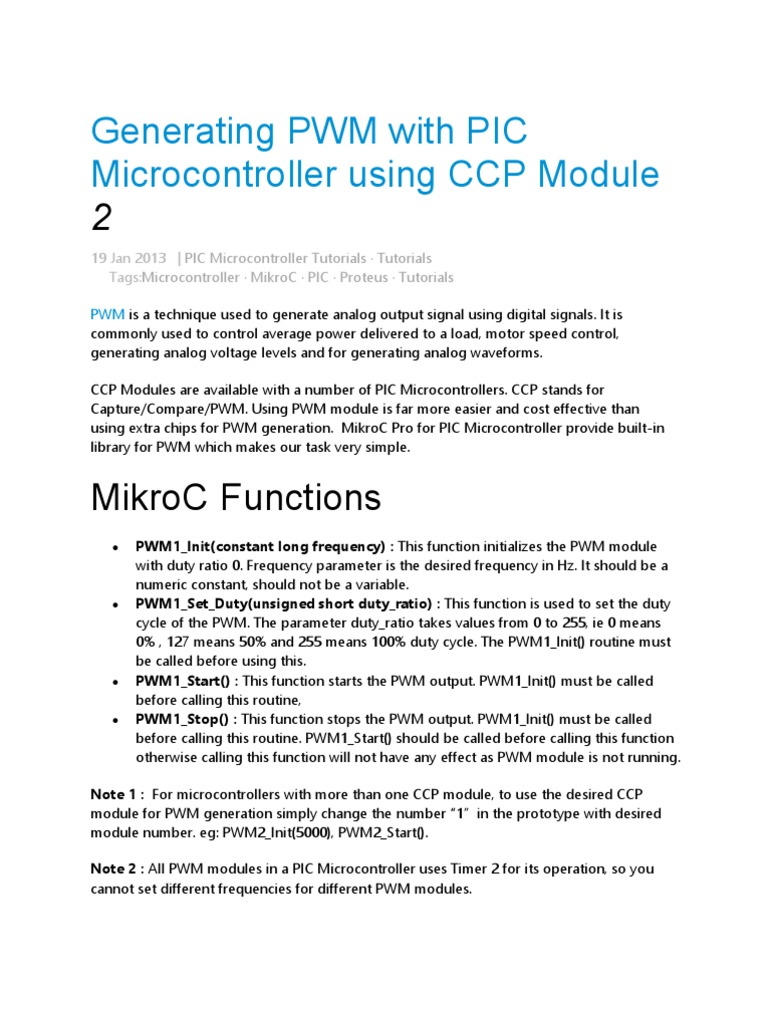 Generating Pwm With Pic Microcontroller Using Ccp Module 2 Push Button Switch Mikroc Electronic Engineering