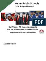 Salem-Keizer School District 2013-14 Budget Message