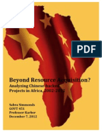 Beyond Resource Acquisition? Analyzing Chinese-­‐backed Projects in Africa, 2002-­‐2012