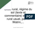 Code Rural - Regime Du Sol - Droit Rural Usuel