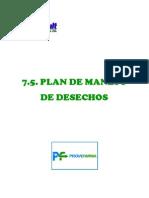 7.5. Plan de Manejo de Desechos