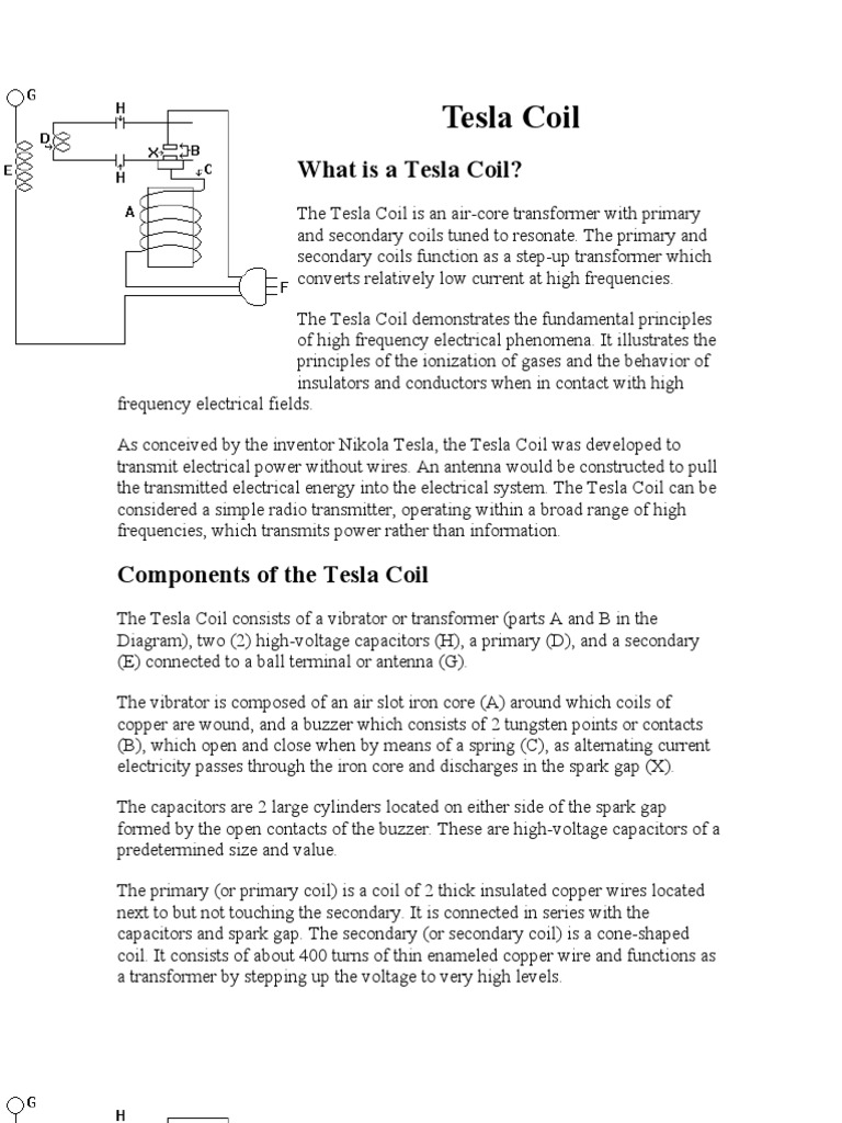 Tesla Coil Inductor Transformer Alternating Current Diagram B The Produced In