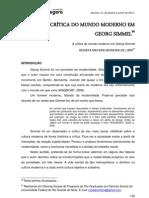 A CRÍTICA DO MUNDO MODERNO EM GEORG SIMMEL