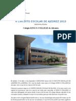 X CIRCUITO ESCOLAR DE AJEDREZ 2013  - KING´S COLLEGE