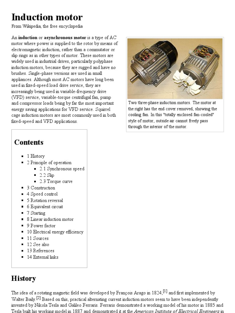 Induction motor - Wikipedia, the free encyclopedia.pdf | Electrical ...