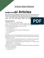Penulisan Articles Dalam Bahasa Inggris