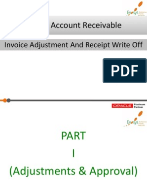 Oracle Account Receivable: Invoice Adjustment And Receipt
