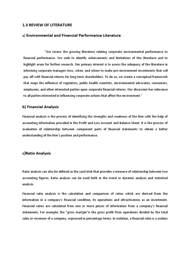 literature review for financial performance mba project literature review for financial performance mba project financial ratio