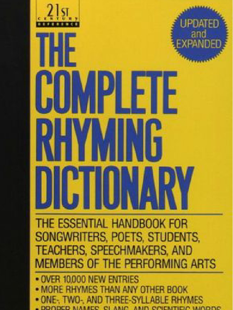 The Complete Rhyming Dictionary Includes Cover   Metre (Poetry)   Poetry