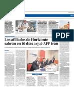 Los afiliados a AFP Horizonte sabrán en 10 días a que AFP irán