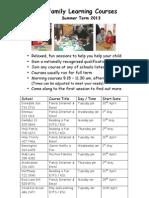 Schools Neighbourhood Courses Summer 2013