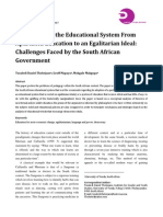 Transforming the Educational System From Apartheid Education to an Egalitarian Ideal; Challenges Faced by the South African Government