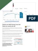 Pánico en Wall Street tras tuit falso en cuenta de AP