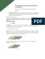 Definición de elementos mecánicos de sujeción y los tipos de juntas que generan