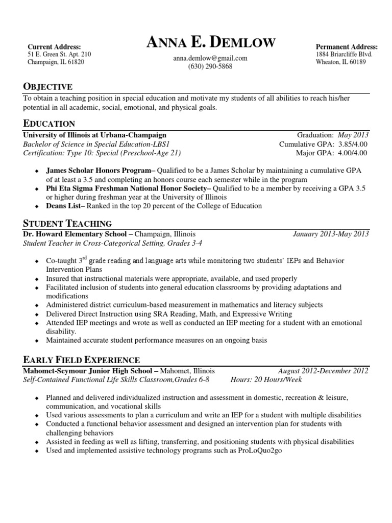 Demlow resume special education individualized education program 1betcityfo Gallery