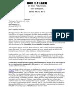Bob Barker Letter to WUSTL