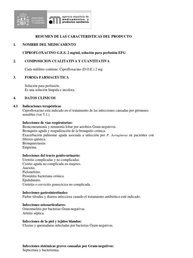 ciprofloxacino para pseudomona aeruginosa