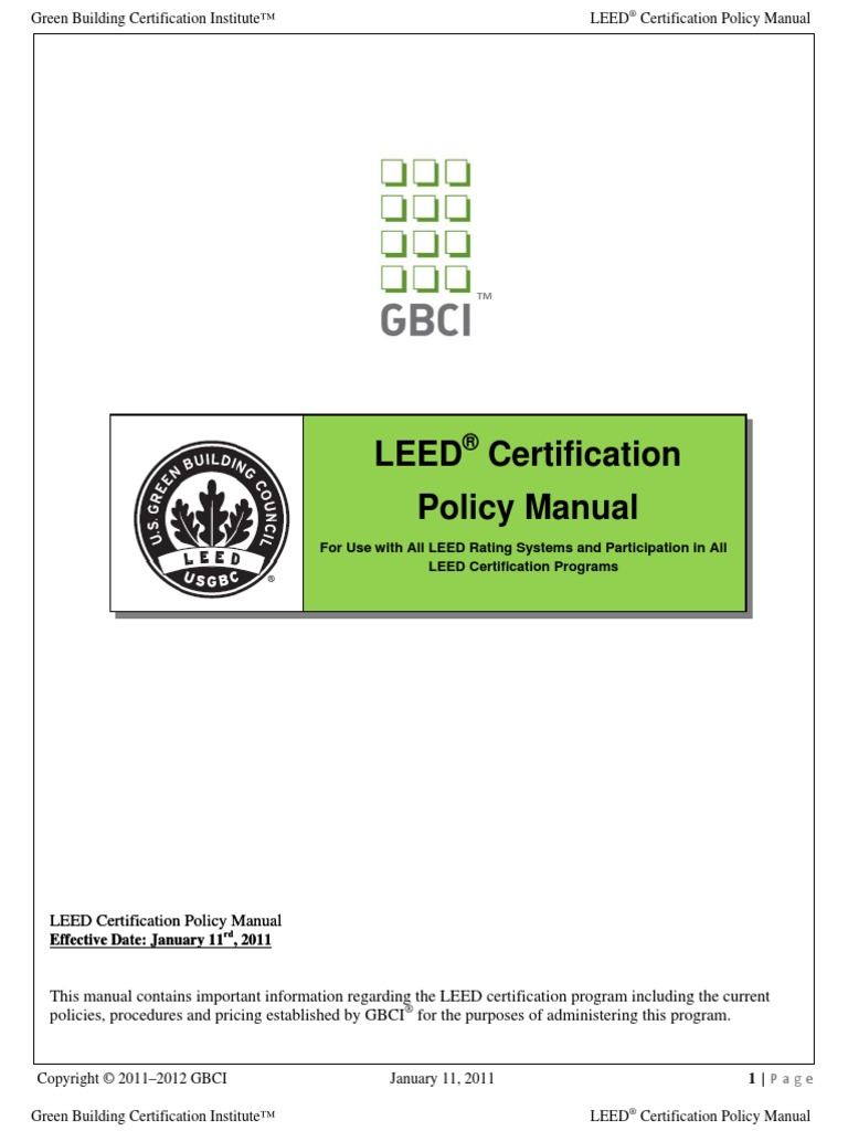 Leed Certification Policy Manual | Leadership In Energy And Environmental  Design | User (Computing)