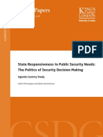 State Responsiveness to Public Security Needs in Uganda