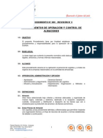 09-05 PROCEDIMIENTO N° 009 - OPERACIÓN Y CONTROL DE ALMACÉN