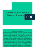 Assessment of Customer's Financing Requirements