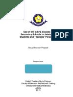ELT Research Proposal Sample--MT in EFL Classes