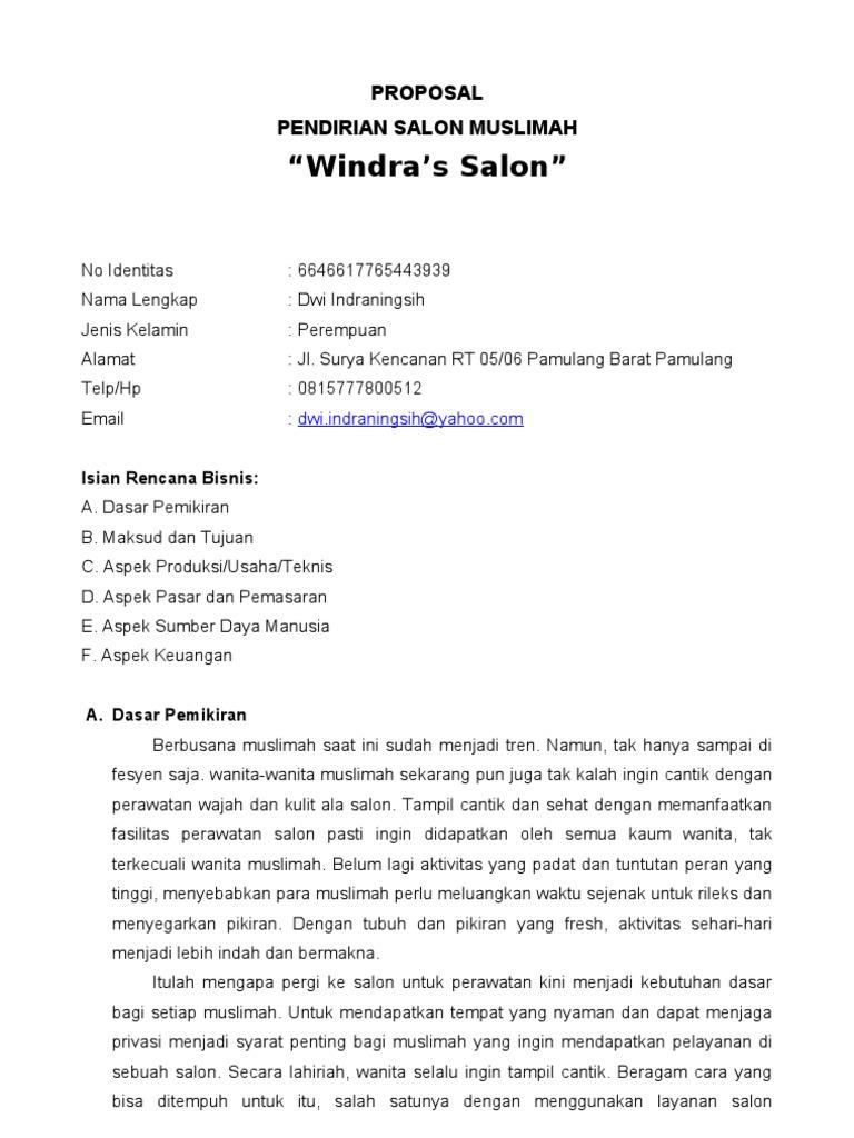 Proposal Pendirian Salon Muslimah Windra S Salon