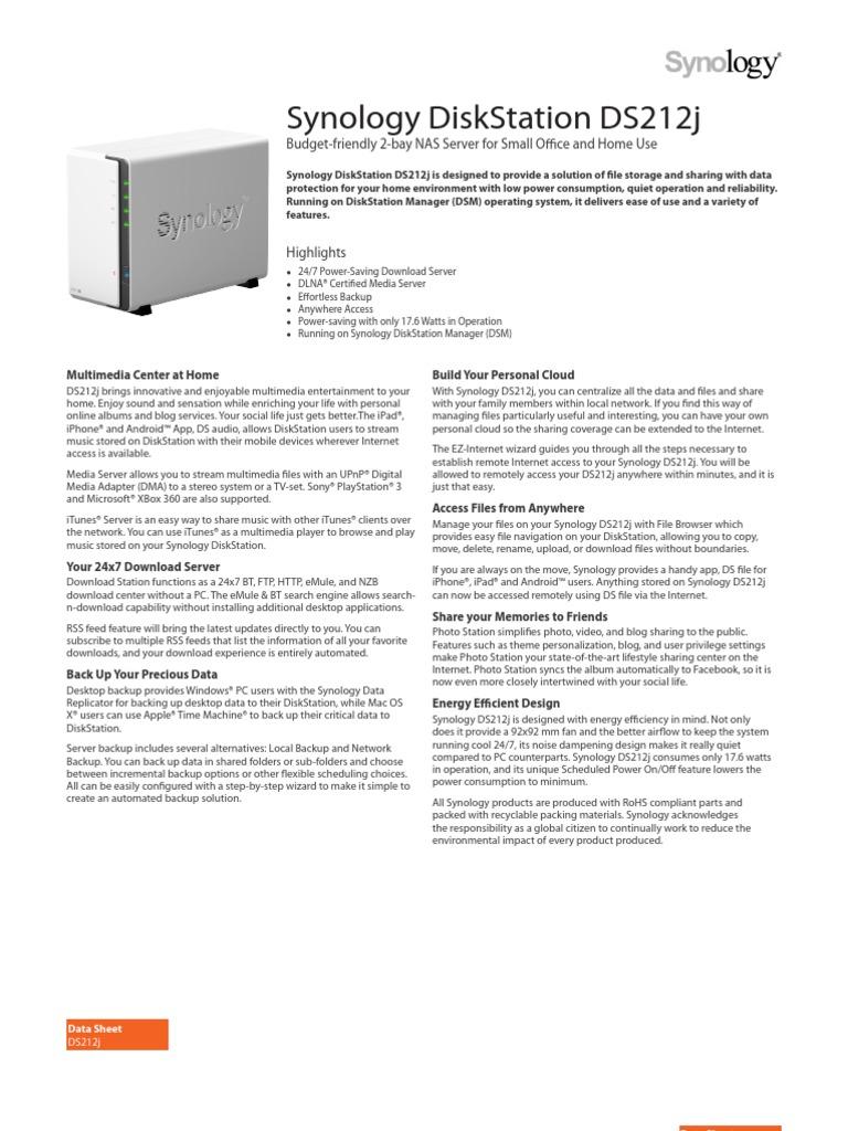 Synology DS212j Data Sheet Enu   File Transfer Protocol
