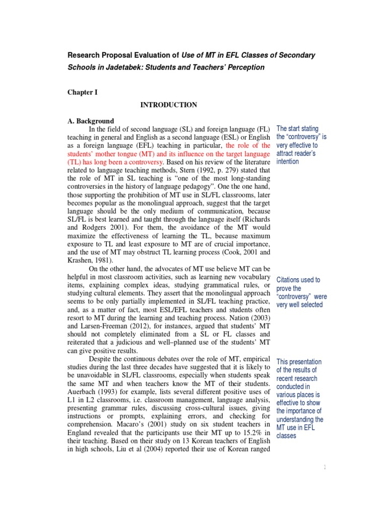 Proposal Evaluation Mt In Efl Class English As A Second Or