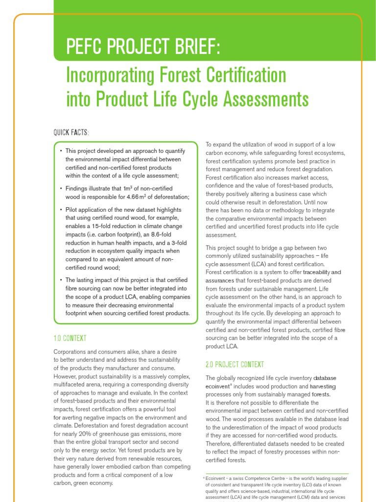 Pefc Project Brief Incorporating Forest Certification Into Product