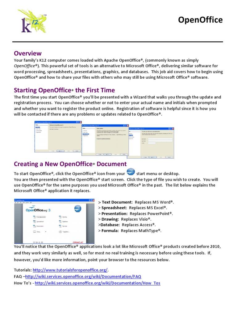 Open Office Job Aidfamily