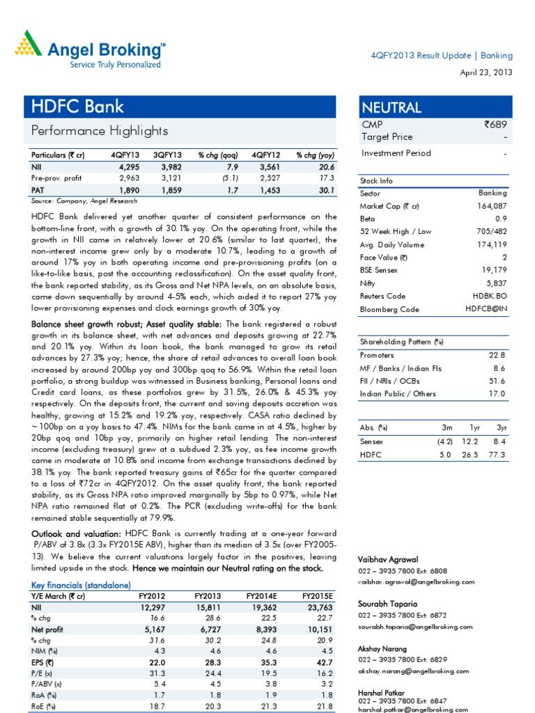 hdfc bank 4q fy 2013