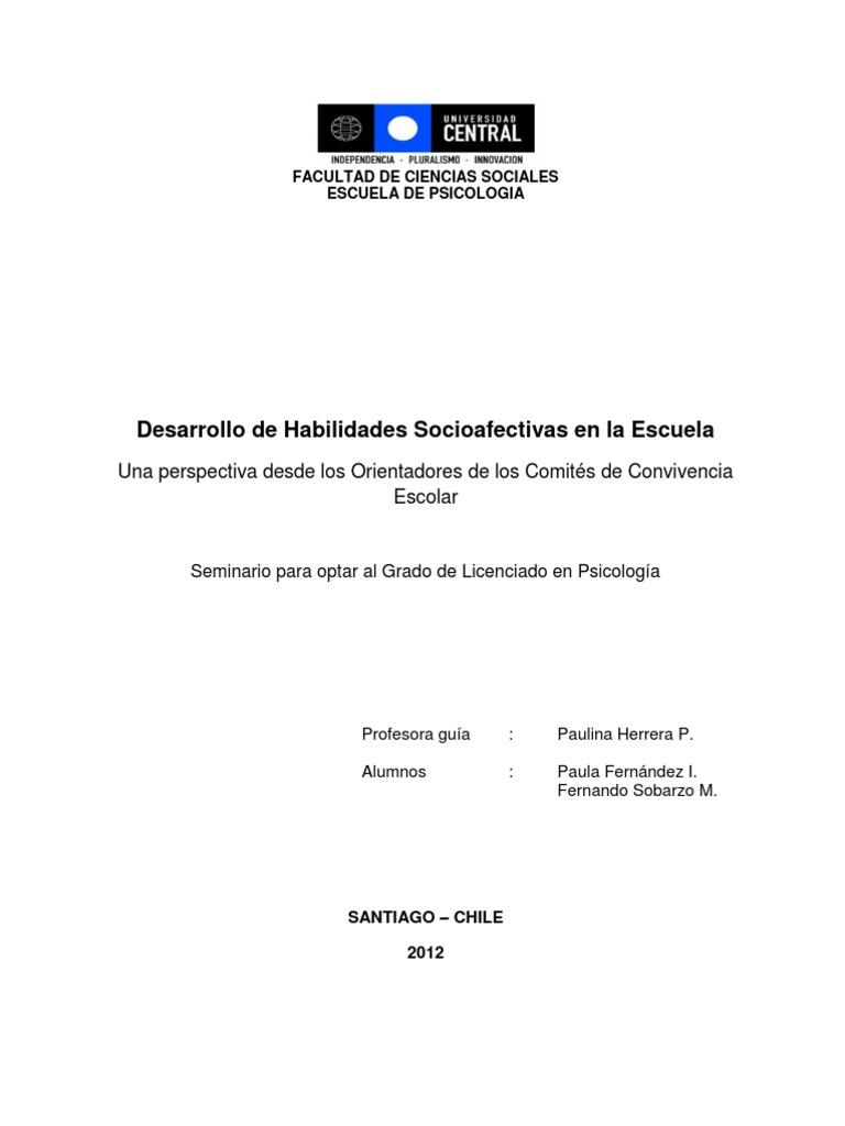 Desarrollo de Habilidades Socioafectivas en La Escuela. Paula ...