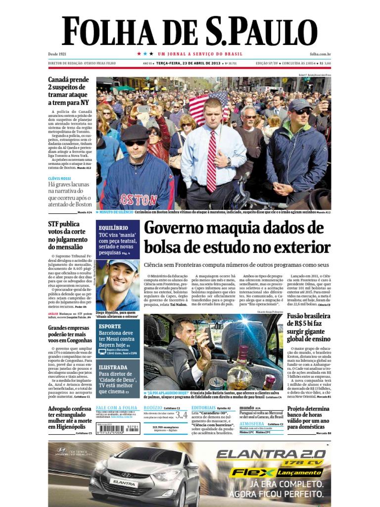 folha de são paulo 23 de abril de 2013