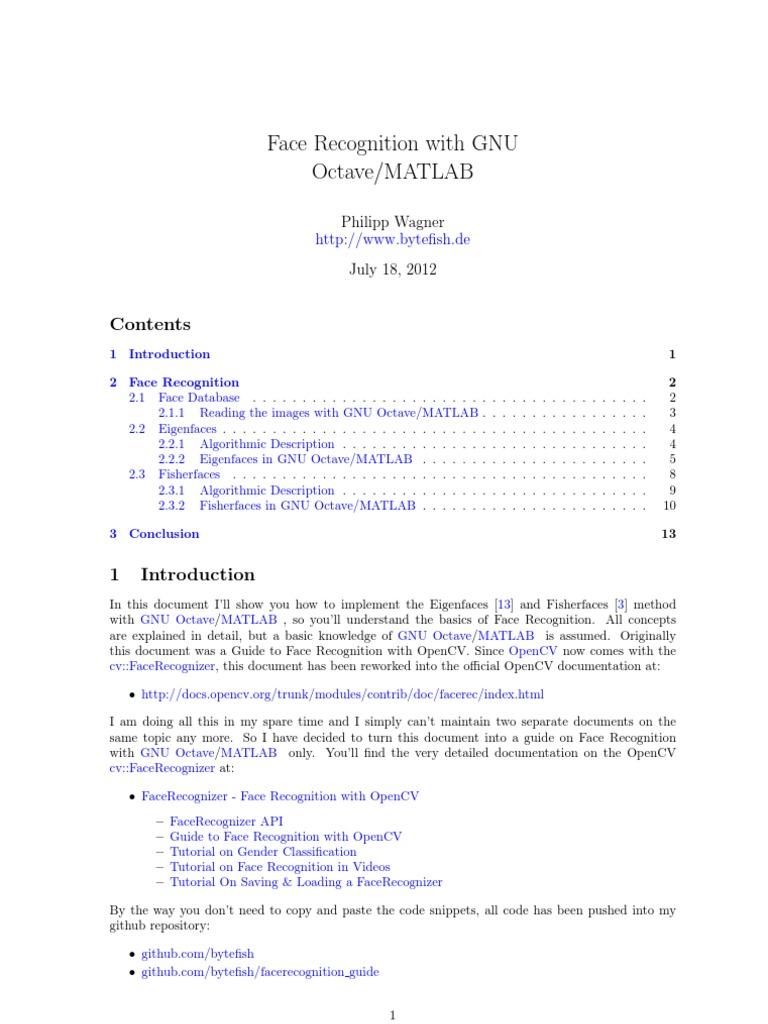Facerec Octave | Principal Component Analysis | Eigenvalues
