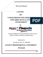 Consumer Buying Behaviour Towards Mutual Funds Investment