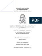 Correlación entre  Estilos de Vida y  la Salud de los Médicos del Hospital Regional de Sonsonate.