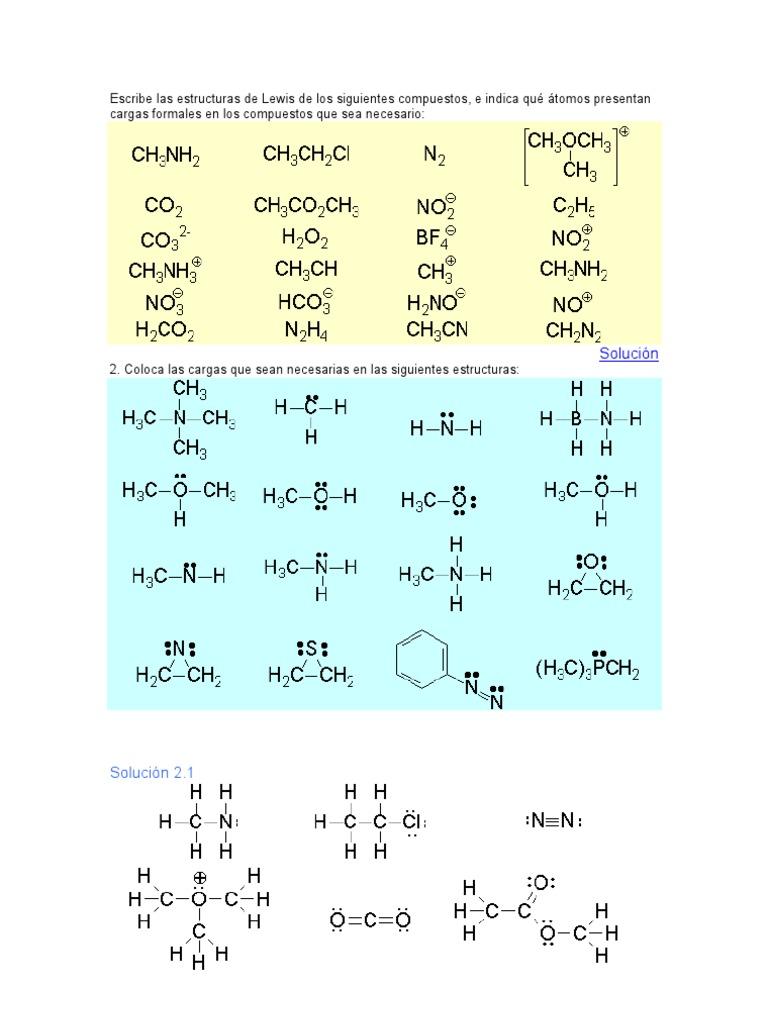 Escribe Las Estructuras De Lewis De Los Siguientes Compuestos Valencia Química Enlace Químico