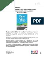 Boletin Enero 22 2013 Pacto de Seguridad Vial Por La%9vida