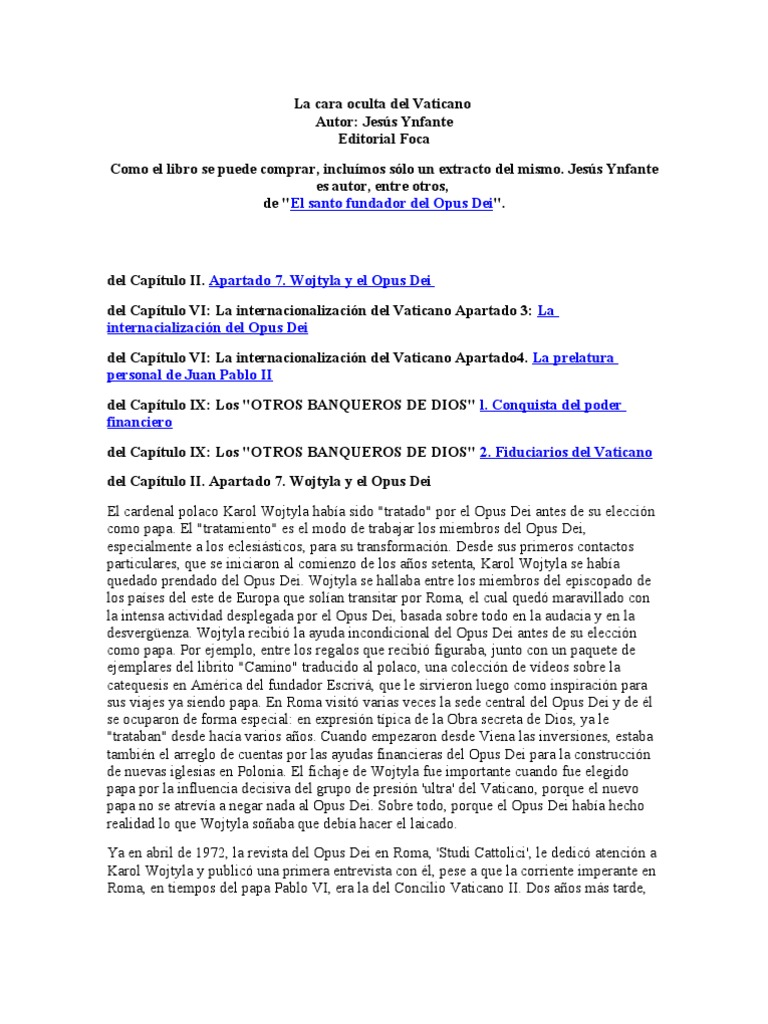 Ynfante La Cara Oculta Del Vaticano Fragmento