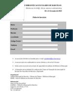Ficha de inscrição - III ENCONTRO DE BIBLIOTECAS ESCOLARES DE BARCELOS