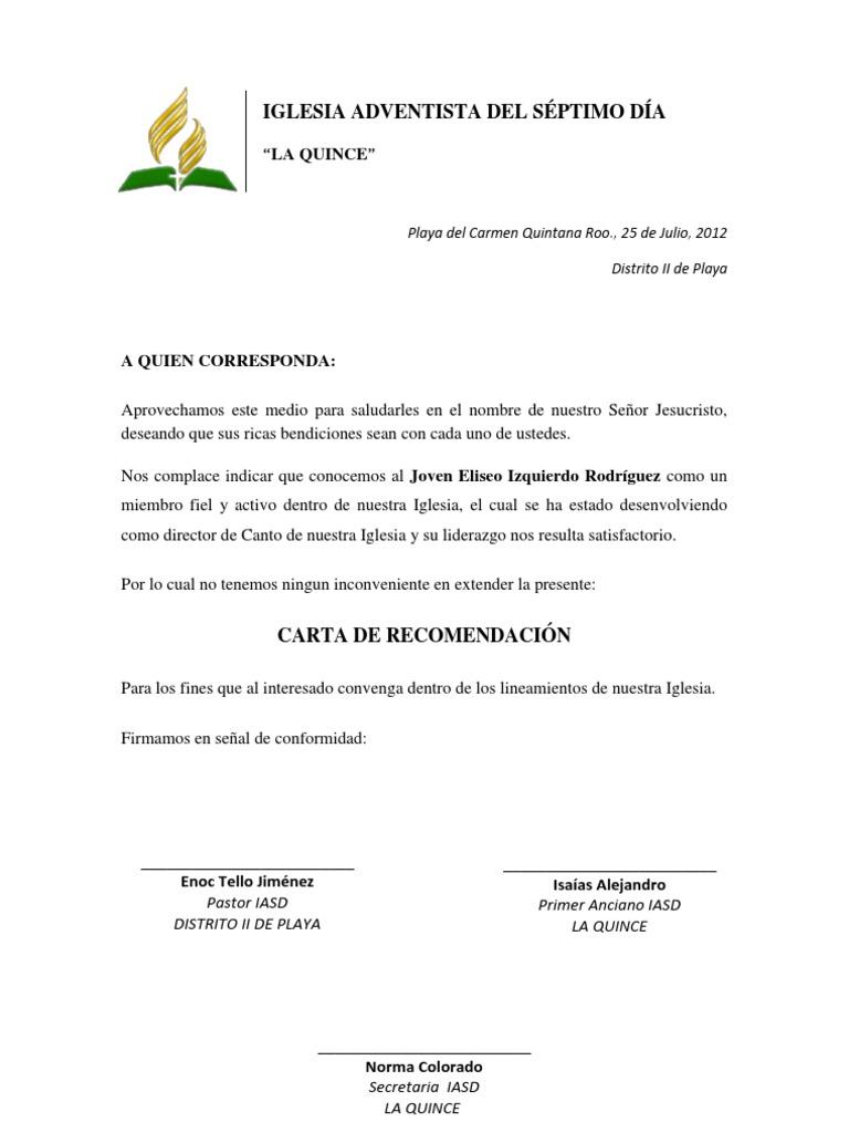 formato carta de recomendacion pdf