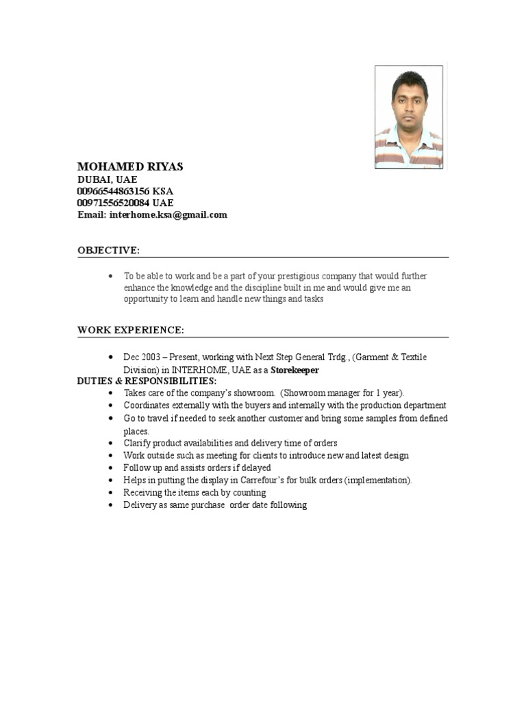 Magnificent Storekeeper Cv Sample Examples Collection - Professional ...