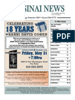 Congregation Sinai Milwaukee Newsletter--Spring/Summer 2013
