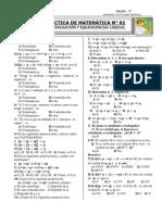 PRÁCTICA DE MATEMÁTICA Nº 02  3°-EVALUACIÓN Y EQUIVALENCIAS LÓGICAS